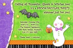 Custom Halloween Party Invitation - Spooktacular Ghost Design | PixelPerfectBoutique - Digital Art on ArtFire