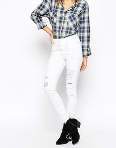 ASOS+Ridley+High+Waist+Skinny+Jeans+in+White+with+Shredded+Rips