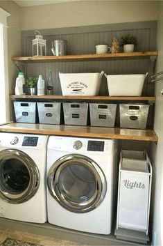 45 Inspiring small laundry room design and decoration ideas . Inspiring little laundry room design and decoration ideas decoration Inspiring small laundry room design and decoration id Laundry Nook, Laundry Room Remodel, Laundry Room Organization, Laundry Room Design, Basement Laundry, Storage Organization, Storage Shelves, Laundry Shelves, Storage Buckets