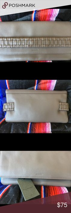 Allsaints leather wallet/clutch Taupe leather with braided detail for closure. All Saints Accessories