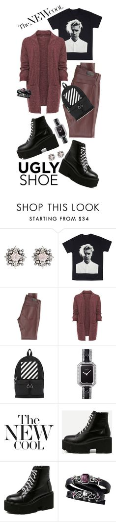 """""""Ugly (But Chic?!) Shoes"""" by shortyluv718 ❤ liked on Polyvore featuring DANNIJO, AG Adriano Goldschmied, WearAll, Off-White, Chanel, uglyshoes and plus size clothing"""