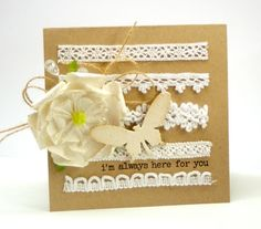 Card-Making:  very cool white lace with kraft paper