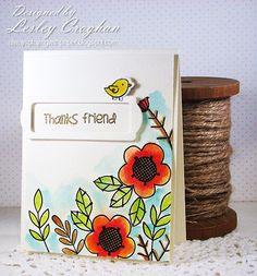 Card by PS GDT Lesley Croghan using PS Natural Beauties stamps/dies, Bookplates dies