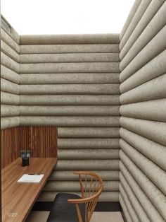 Phone Booth Walls Upholstered in Cotton Velvet Improve Acoustics