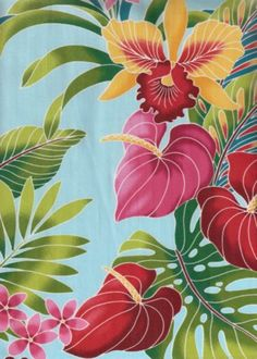 Shown here is a tropical Hawaiian upholstery barkcloth fabric with hibiscus ginger flowers. Description from pinterest.com. I searched for this on bing.com/images