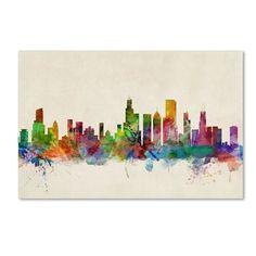 Michael Tompsett 'Chicago Illinois' Canvas Art - Overstock™ Shopping - Top Rated Trademark Fine Art Canvas