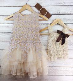 Matching sister dress, little sister, big sister, lace dress, coordinating, matching headband, vintage, photo, flower girl by MJfordiva on Etsy