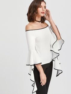 Shop White Contrast Trim Off The Shoulder Flared Sleeve Top online. SheIn offers White Contrast Trim Off The Shoulder Flared Sleeve Top & more to fit your fashionable needs. Fashion 2017, Fashion Dresses, Modelos Fashion, Mode Chic, Stylish Tops, Bell Sleeve Blouse, White Fashion, Dress Patterns, Blouse Designs