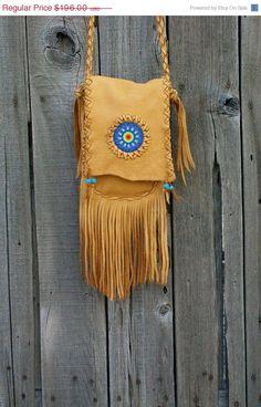 Leather handbag  Fringed leather bag  Crossbody bag by thunderrose