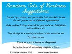 Random Acts of Kindness - A Classroom Holidays Activity (freebie download at TpT!