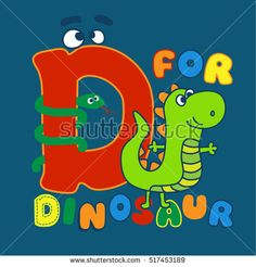 D for Dinosaur. illustration with text. Artwork design for kids.