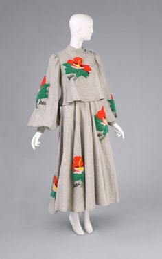 1973, Japan - Woman's Ensemble: Dress and Jacket by Kansai Yamamoto - Wool plain weave with punch needle embroidery