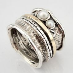 Amazing Sterling Silver and Yellow Gold Pearl band size by jewela, $98.00