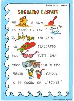 maestra Nella: poesia illustrata e colorata sull'estate Italian Vocabulary, Teacher Must Haves, Learning Italian, Love My Job, Primary School, Nursery Rhymes, Preschool, Montessori, English