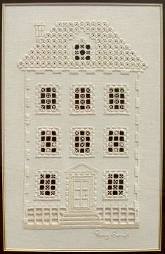 This hardanger house embroidery is delightful - don't you think? It's the work of embroidery artist Penny Cornett. Types Of Embroidery, Embroidery Patterns Free, Hand Embroidery Designs, Embroidery Stitches, Back Stitch, Cross Stitch, Bookmark Craft, Crochet Hook Set, Drawn Thread