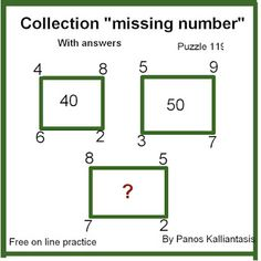 Brain teasers and puzzles: Puzzle 119-missing number-Panos Missing Number, Number Puzzles, Brain Teasers, Numbers, This Or That Questions, Collection, Mind Games, Numeracy