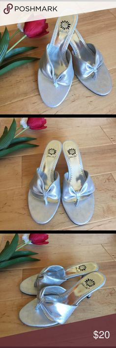 """Silver Sandal Heels from Yellow Box Cute pair of 2.5"""" heels goes with everything! Please see photos for details.                                         ☀️Surprise Free Gift Included  ☀️From a non-smoking no pets home ☀️Reasonable offers are always welcome ☀️Bundle 3 & save 30% ☀️Orders are shipped next business day ☀️Happy to answer any questions Yellow Box Shoes Heels"""