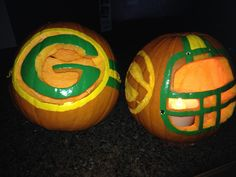 Green Bay packer pumpkins!