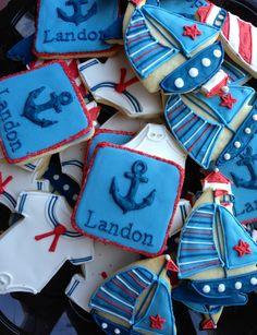 Boy nautical theme baby shower cookies