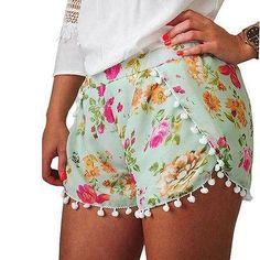 2017 NEW TASSEL PRINT HOT SUMMER Women Fashion Stretchy Aztec Shorts Plus Size S M L XL