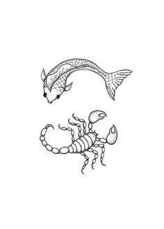 Pisces-Scorpio Yin-Yang Tatoo design - - Drawn as a tatoo idea representing a Dad's 2 kid's zodiac signs. Zodiac Tattoos Pisces, Pisces Tattoo Designs, Pisces And Scorpio, Horoscope Tattoos, Tatoo Designs, Body Art Tattoos, Small Tattoos, Tatoos, Foot Tattoos