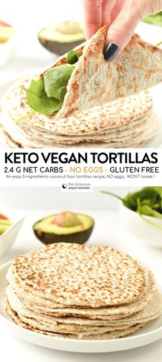 Glutenfreie Tortillas Rezept Keto + Vegan – The Conscious Plant Kitchen - Vegane Rezepte Keto Vegan, Gluten Free Vegetarian Recipes, Vegetarian Keto, Paleo Recipes, Low Carb Recipes, Whole Food Recipes, Paleo Meals, Healthy Vegan Meals, Bread Recipes
