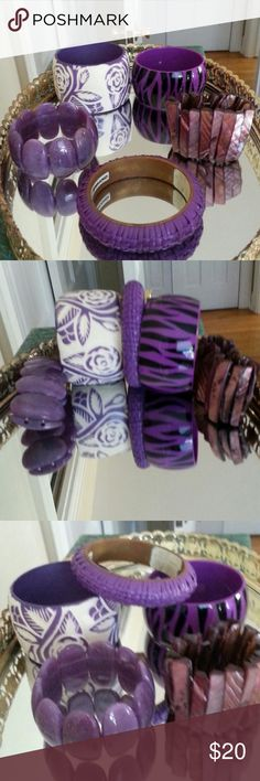 BRACELETS, 5, SHADES OF PURPLE BRACELETS, 5, THREE OF THE BRACELETS ARE CUFF AND TWO ARE STRETCH. CUTE ACCESSORIES FOR ANYONE, ESPECIALLY A PURPLE LOVER. Jewelry Bracelets