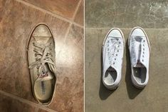How 2 Clean shoes. learn how to clean shoes with these natural ingredients to keep your kicks squeeky clean! Deep Cleaning Tips, House Cleaning Tips, Cleaning Solutions, Spring Cleaning, Cleaning Hacks, Green Cleaning, Organizing Tips, Organising, Cleaning Products