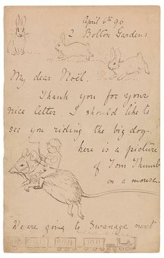 The Morgan Library & Museum Online Exhibitions - Beatrix Potter: The Picture Letters - Letter to Noel Moore, April 6, 1896, page 1