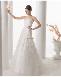 A-vonalú Ragyog & Csillog Pánt nélküli Menyasszonyi ruhák 2015