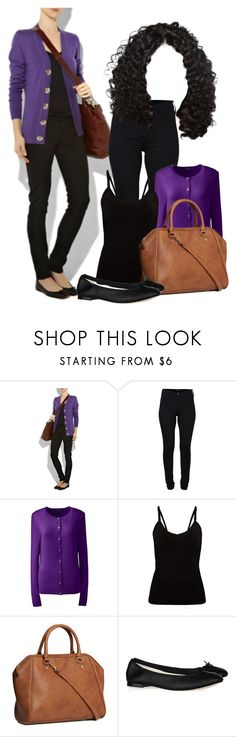 """""""Purple cardigan"""" by ivanoe ❤ liked on Polyvore featuring Tory Burch, French Connection, Lands' End, H&M and Repetto"""