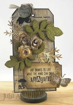 Create With Me: Compendium of Curiosities 3 Challenge #3 - Faux Tea Rose Technique - I made this tag using lots of Tim Holtz goodies, along with Art Parts Leaves and Reverse dots stamp from Wendy Vecchi Studio 490.