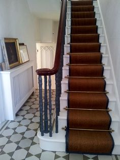 staircase w runner and painted floorboards