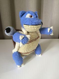 Ravelry: Blastoise pattern by Edward Yong Crochet Sloth, Crochet Pokemon, Crochet Animals, Disney Crochet Patterns, Animal Sewing Patterns, Crochet Gifts, Crochet Toys, Pokemon Blastoise, Dinosaur Stuffed Animal