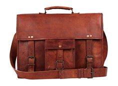 """Vintage Leather Messenger Bag 18"""" Leather Briefcase Eco-friendly By RusticTown RusticTown http://www.amazon.com/dp/B00SUZWQKE/ref=cm_sw_r_pi_dp_UfWdvb0FFNW2M"""