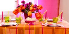 Glockengiesser Collection, TABLECLOTH  PINK ORANGE BEAUTIFUL FOR SUMMER!