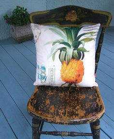 pineapple postcard pillow