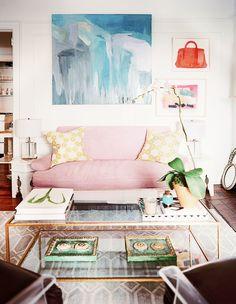 Light pink sofa in playful living room