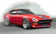 A rendering of a 1977 Datsun 240Z. Just for fun, I've always loved these vehicles. Pencil drawing colored in Adobe Photoshop CS4.
