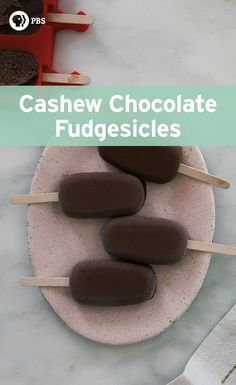 While most popsicles are seen as a dessert, these cashew chocolate fudgesicles are on the healthier side.