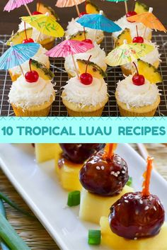 10 Tropical Luau Recipes Use one of these tropical recipes when throwing your next luau party this summer. These ten Hawaiian inspired recipes that Catie Parrish found will have guests asking for seconds. Aloha Party, Luau Theme Party, Hawaiian Luau Party, Hawaiian Birthday, Luau Birthday, Tiki Party, Hawaii Party Food, Food For Luau Party, Tropical Party Foods