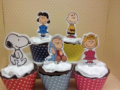 Peanuts Charlie Brown Snoopy Party Cupcake Topper by PartyByDrake