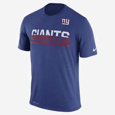 REPRESENT YOUR TEAM The Nike Team Practice (NFL Giants) Men's T-Shirt features bold team print on lightweight, breathable fabric that wicks sweat away from your skin. Benefits Dri-FIT fabric helps keep you dry and comfortable Rib crew neck with interior taping for comfort Product Details Fabric: Dri-FIT 100% polyester Machine wash Imported