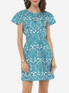 Printed Delightful Round Neck Bodycon-dress
