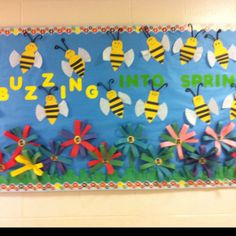 Spring Bulletin Board .. I dont even have to take down my blue background .. love it even more