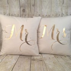 Metallic Gold Mr & Mrs pillow set with inserts | Afterglow General Store