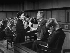 """""""Lawyers should never marry other lawyers. This is called in-breeding; from this comes idiot children... and other lawyers."""" Adams Rib:1949 Spencer Tracy & Katharine Hepburn Director: George Cukor"""