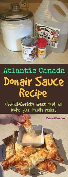 How to Make Donair Sauce - Donair Sauce Recipe from Atlantic Canada(Hamburger Recipes) Copycat Recipes, Sauce Recipes, Beef Recipes, Cooking Recipes, Hamburger Recipes, Vegetarian Recipes, Donair Sauce, Marinade Sauce, Donair Meat Recipe