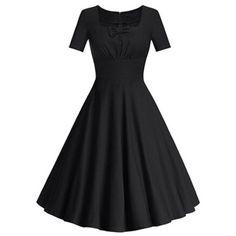 Square Neck Bowknot Puffball Dress - BLACK L