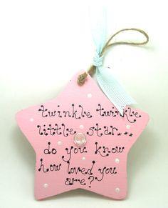 Handmade Personalised Wooden Twinkle Star Sign / by 2good2beWood